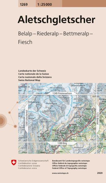 1269 Aletschgletscher topographische Wanderkarte Schweiz 1:25.000