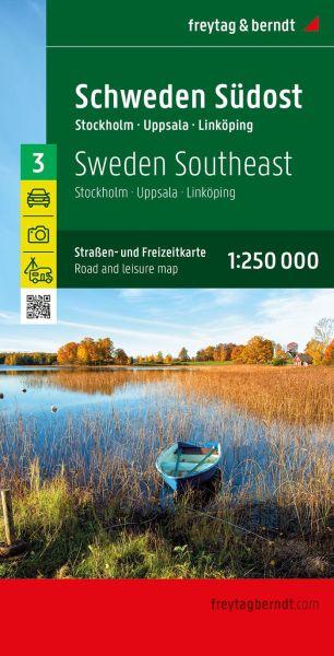 Schweden Südost - Stockholm, Uppsala, Norrköping, Straßenkarte 1:250.000, Freytag und Berndt