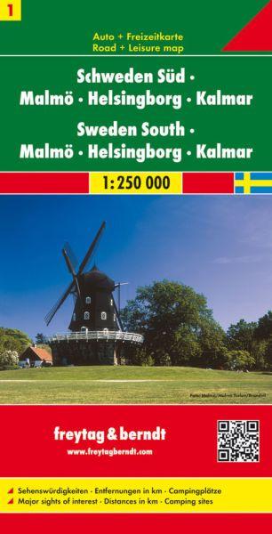 Schweden Süd - Malmö, Helsingborg, Kalmar, Straßenkarte 1:250.000, Freytag und Berndt