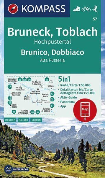 Kompass Karte 57, Bruneck, Toblach 1:50.000, Wandern, Rad fahren