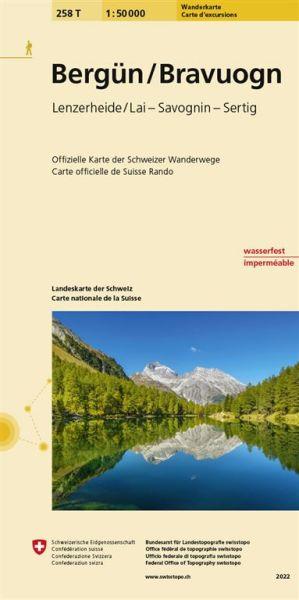 258 T Bergün / Bravuogn Wanderkarte 1:50.000 - Swisstopo