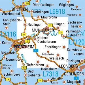 L7118 Pforzheim topographische Karte 1:50.000 Baden-Württemberg, TK50