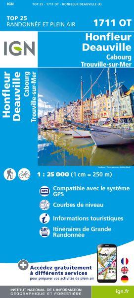 IGN 1711 OT Honfleur / Deauville / Cabourg / Trouville-sur-Mer, Frankreich Wanderkarte 1:25.000