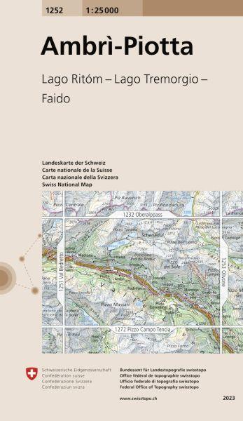 1252 Ambri-Piotta topographische Wanderkarte Schweiz 1:25.000