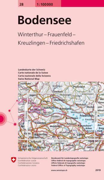 28 Bodensee topographische Karte Schweiz 1:100.000