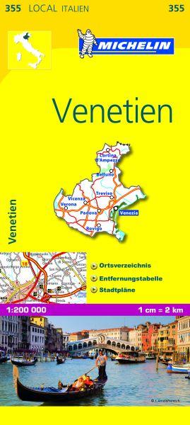 Michelin 355 Venetien Straßenkarte 1:200.000