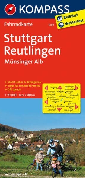 Kompass Fahrradkarte Blatt 3107 Stuttgart, Reutlingen, Münsinger Alb 1:70.000