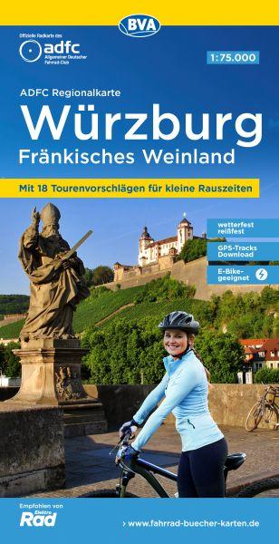 ADFC-Regionalkarte, Würzburg - Fränkisches Weinland Radwanderkarte 1:75.000