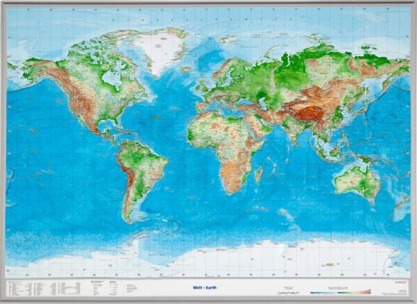 Welt Relief groß ohne Rahmen – 77 cm x 57 cm