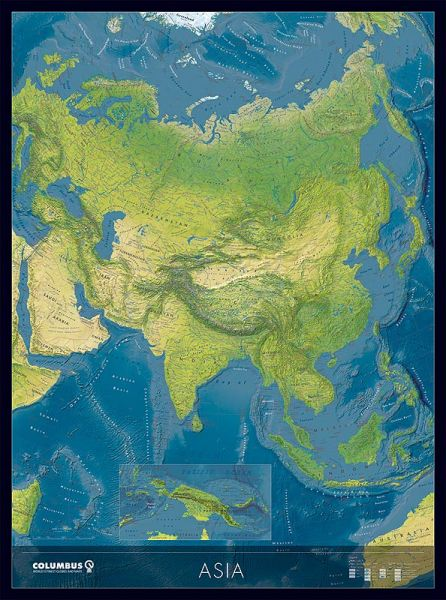 Columbus Kontinentkarte Asien, physisch / politisch – 115 cm x 85 cm