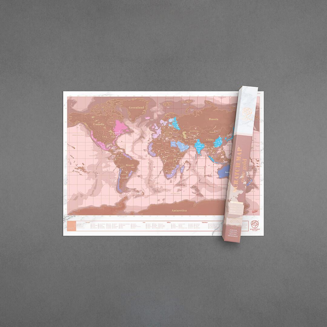 Scratch Map Die Rubbelweltkarte Rose Gold 825 X 594 Cm