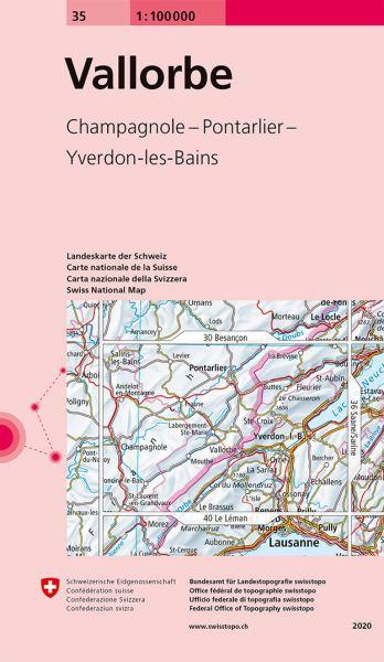 35 Vallorbe topographische Karte Schweiz 1:100.000