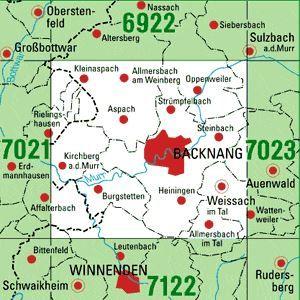 7022 BACKNANG topographische Karte 1:25.000 Baden-Württemberg, TK25