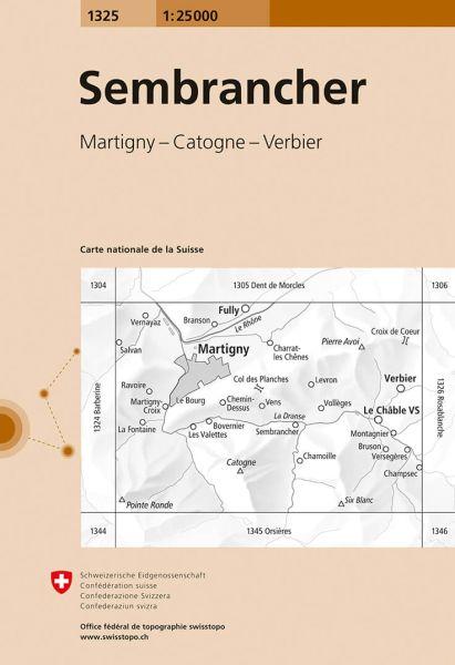 1325 Sembrancher topographische Wanderkarte Schweiz 1:25.000