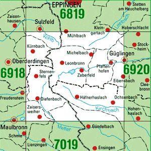 6919 GÜGLINGEN topographische Karte 1:25.000 Baden-Württemberg, TK25