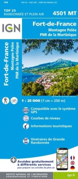 IGN 4501 MT Fort-de-France (Martinique), topographische Wanderkarte 1:25.000