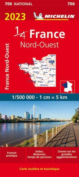 Michelin 706 Frankreich Nordwest Straßenkarte 1:500.000
