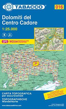 Tabacco 016 Dolomiti del Centro Cadore Wanderkarte 1:25.000