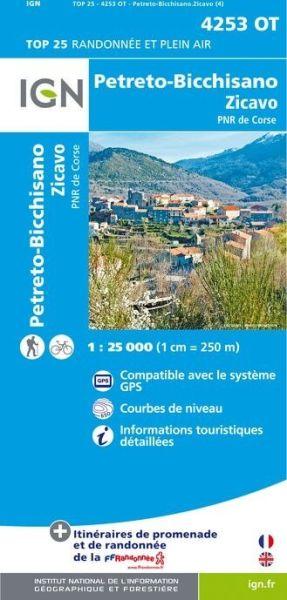 IGN 4253 OT Petreto-Bicchisano - Zicavo, Korsika Wanderkarte 1:25.000