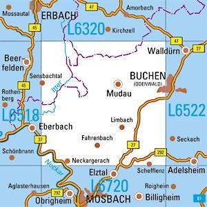 L6520 Buchen topographische Karte 1:50.000 Baden-Württemberg, TK50