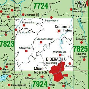 7824 BIBERACH A.D.RISS-NORD topographische Karte 1:25.000 Baden-Württemberg, TK25