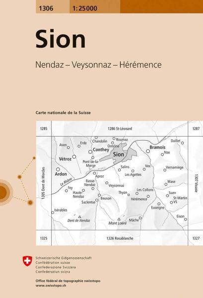1306 Sion topographische Wanderkarte Schweiz 1:25.000