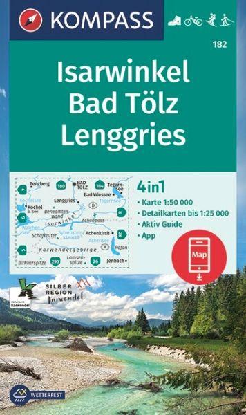 Kompass Karte 182, Isarwinkel, Bad Tölz 1:50.000, Wandern, Rad fahren