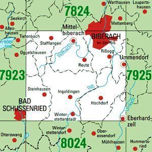 7924 BIBERACH A.D.RISS-SÜD topographische Karte 1:25.000 Baden-Württemberg, TK25