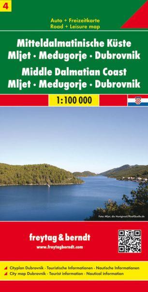 Mitteldalmatinische Küste 4 - Mljet, Medugorje, Dubrvnik, Straßenkarte 1:100.000, Freytag und Berndt