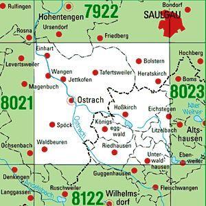 8022 OSTRACH topographische Karte 1:25.000 Baden-Württemberg, TK25