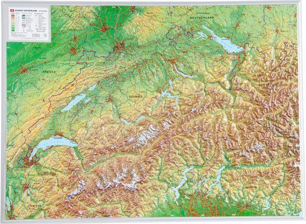 Schweiz Relief groß ohne Rahmen – 77 cm x 57 cm