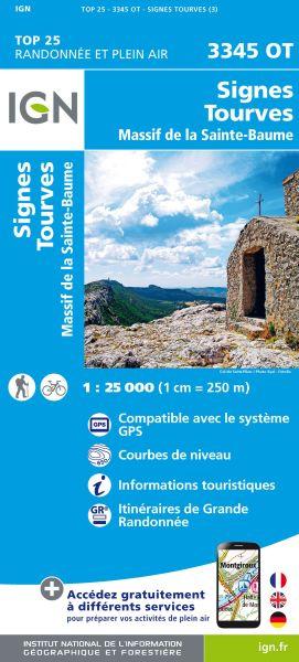 IGN 3345 OT Signes, Tourves, Sainte-Baume, Frankreich Wanderkarte 1:25.000