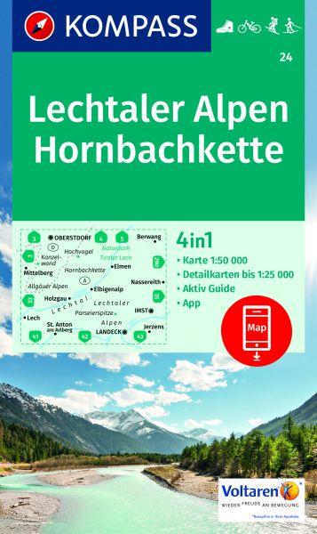 Kompass Karte 24, Lechtaler Alpen, Hornbachkette 1:50.000, Wandern