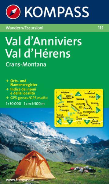 Kompass Karte 115, Val d'Anniviers, Val d'Herens 1:50.000, Wandern
