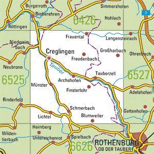 6526 CREGLINGEN topographische Karte 1:25.000 Baden-Württemberg, TK25