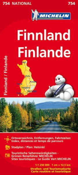 Michelin 754 Finnland mit Stadtplan von Helsinki, Entfernungen und Fahrtzeiten. 1:1,25 Mio.