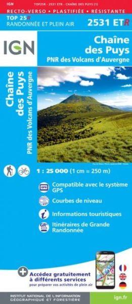 IGN 2531 ETR Chaîne des Puys / Monts-Dômes, Frankreich reiß- und wasserfeste Wanderkarte 1:25.000