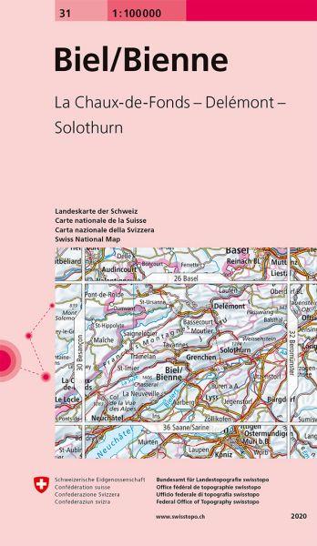 31 Biel / Bienne topographische Karte Schweiz 1:100.000