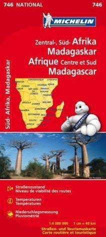 Michelin 746 Zentral-, Süd-Afrika, Madagaskar, Straßenkarte, 1:4.000.000