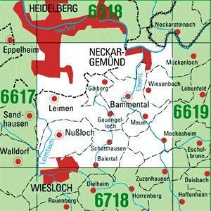 6618 HEIDELBERG-SÜD topographische Karte 1:25.000 Baden-Württemberg, TK25