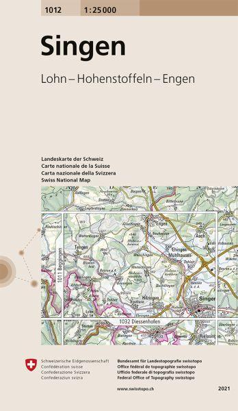1012 Singen topographische Wanderkarte Schweiz 1:25.000