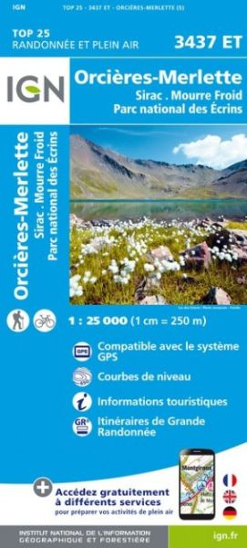 IGN 3437 ET Orcieres-Merlette, Sirac, Frankreich Wanderkarte 1:25.000