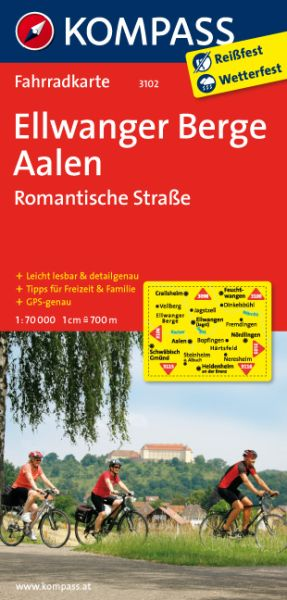 Kompass Fahrradkarte Blatt 3102 Ellwanger Berge, Aalen, Romantische Straße 1:70.000