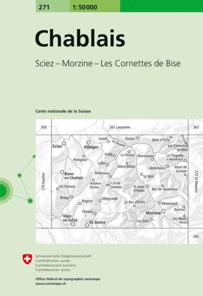 271 Chablais topographische Wanderkarte Schweiz 1:50.000