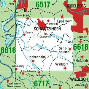 6617 SCHWETZINGEN topographische Karte 1:25.000 Baden-Württemberg, TK25