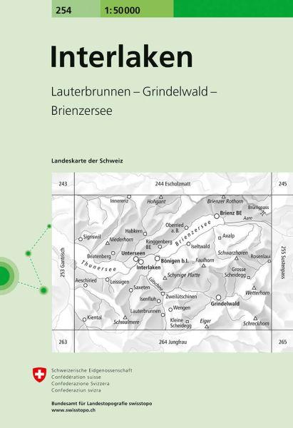 254 Interlaken topographische Wanderkarte Schweiz 1:50.000