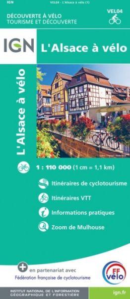 IGN L'Alsace à vélo Elsass Radkarte 1:110.000