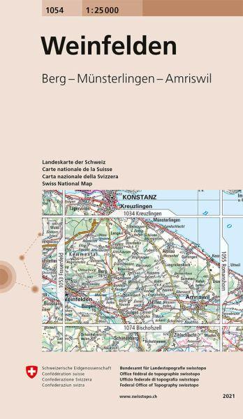 1054 Weinfelden topographische Wanderkarte Schweiz 1:25.000