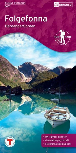 Norwegen topographische Wanderkarte Folgefonna, Hardangerfjorden 1:100.000, Turkart 2431