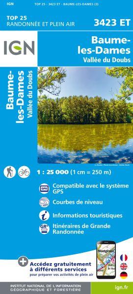 IGN 3423 ET Baumes-les-Dames, Doubs, Frankreich Wanderkarte 1:25.000